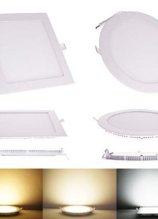 LED панели (cветильники) врезные и накладные, круглые и квадра...