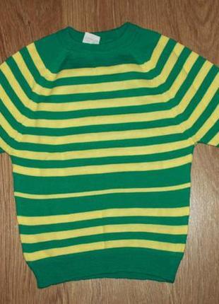 Стильный свитер в полоску на 7-10 лет шерсть +