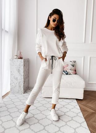 🔥новинка🔥роскошный белый костюм брюки + блузка кофта, супер ка...