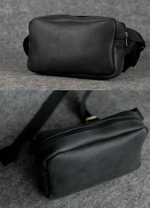 Кожаная женская мужская бананка сумка на пояс из натуральной к...