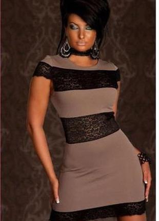 Нарядное кофейное платье мини с черным гипюром ажурные вставки...