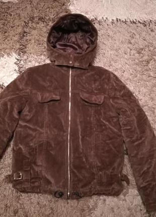 Вельветовая зимняя куртка с капюшоном, с-м