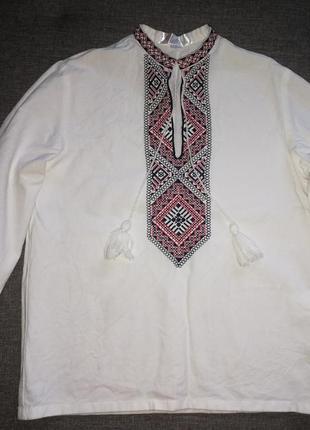 Вышиванка, рубашка, вышитая гладью (машинная вышивка), лен, ко...