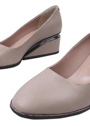 Туфли женские aquamarin натуральная кожа, асимметричный  каблук
