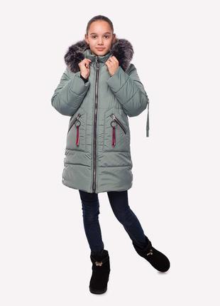 Зимнее пальто аврора оливка