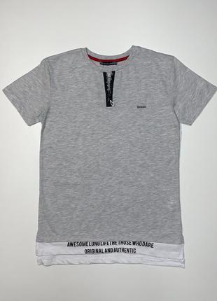 Стильная серая футболка blueland для мальчика подростка 9-14 лет.