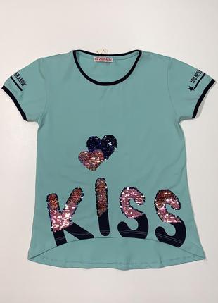 Ментоловая футболка monili для девочки подростка 8-14 лет.