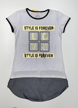 Белая футболка eftelya для девочки 6-12 лет.