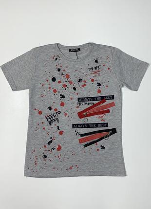 Серая футболка effecto для мальчика подростка 10-14 лет.