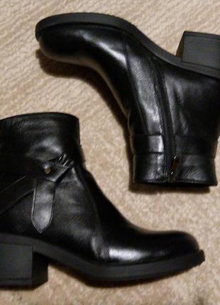 Стильные кожаные деми ботинки на толстой подошве