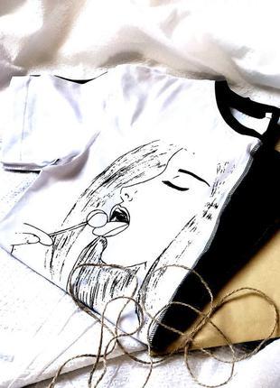 Черно-белая футболка дизайн от komashnya