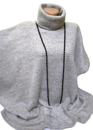 Серый женский свитер с коротким рукавом, универсальный размер