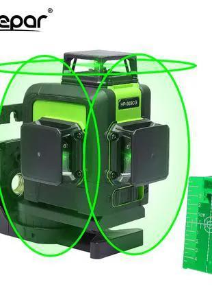 3D лазерный уровень/нивелир зеленый луч Huepar HP-903CG 5200mAh