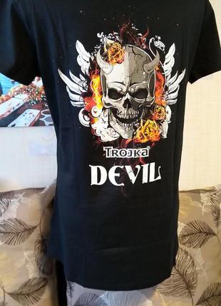 Черная хлопковая футболка с надписью с черепом на спине devil