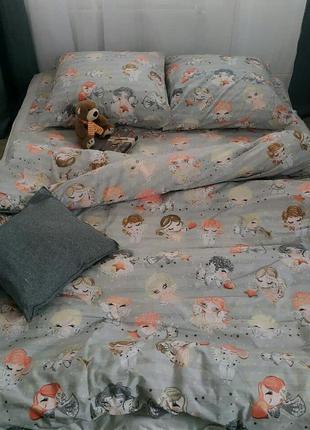 Полуторный комплект постельного белья ангелочки