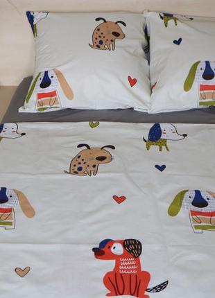 Полуторный комплект постельного белья щенки