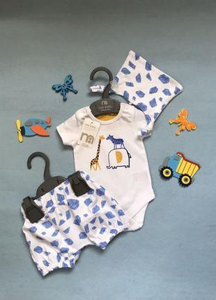 Комплект летний для новорождённых на выписку боди шорты Mother...