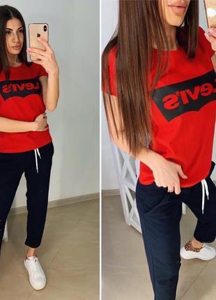 🍓новинка🍓трикотажный костюм брюки + футболка levis/качество 👍