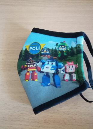 Детская защитнаямногоразовая маска Робокар поли.