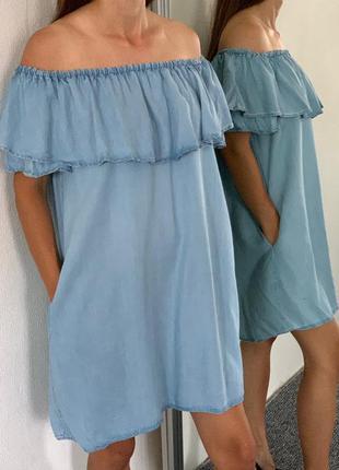 Голубенькое платье zara 38