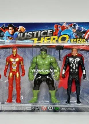 Супер герои Marvel. Набор Мстители Avengers Человек-Паук Халк Жел