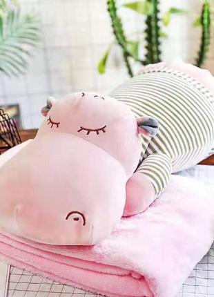 Игрушка с пледом бегемот розовый