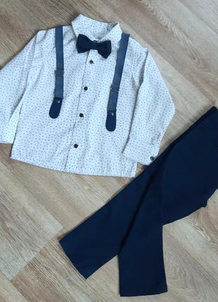 Нарядный классический костюм для мальчика рубашка с бабочкой и...