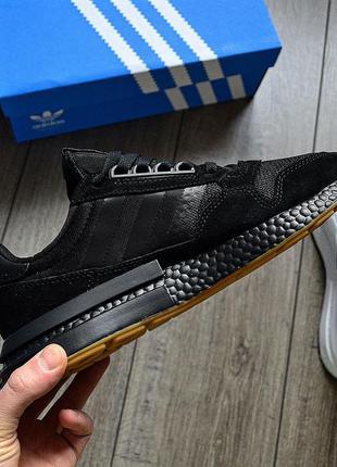 Мужские чёрные кроссовки адидас zx 500