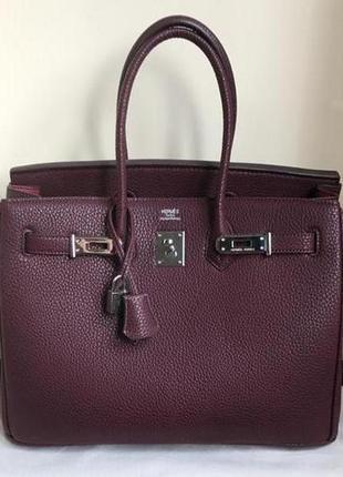 Женская сумка в стиле hermes birkin гермес биркин марсал бордо...