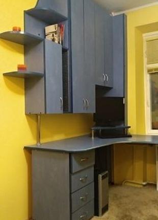 Письмовий кутовий комп'ютерний стіл + книжкова шафа, шкаф, стол