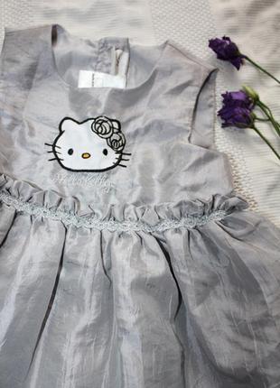 Сріблясте пишне платтячко hello kitty  h&m 6-9m 74cm