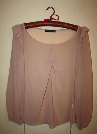 Елегантна шифонова блуза пудрово-бежевого кольору atmosphere 36