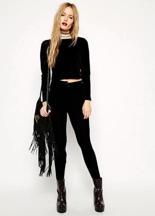 Бархатный лонгслив черного цвета asos new look черный велюровы...