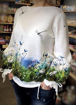 Новая,весна-осень блузка-джемпер с ручной вышивкой,эксклюзив-э...