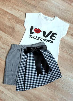 Комплект футболка с юбкой для девочек 2, 3, 4 года