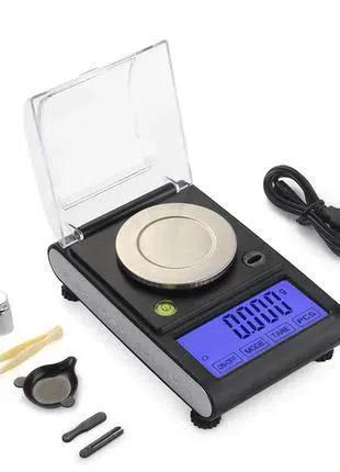 Весы сенсорные высокоточные с USB 0.001 г х 50г (батарейки/сеть)