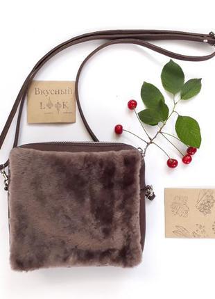 """Кожаная сумка с натуральным мехом """"малина"""" (коричневая)"""