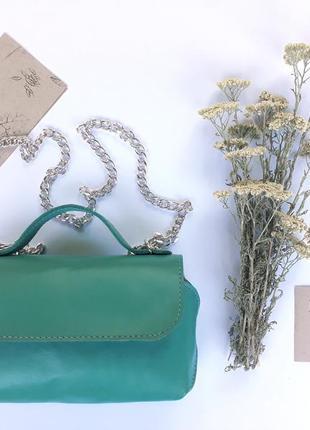 """Модная летняя кожаная мини-сумка """"финик"""" (зеленая)"""