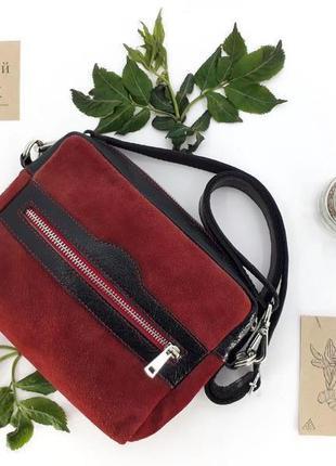 """Женская кожаная сумка на пояс """"кориандр"""" (красная с черным)"""