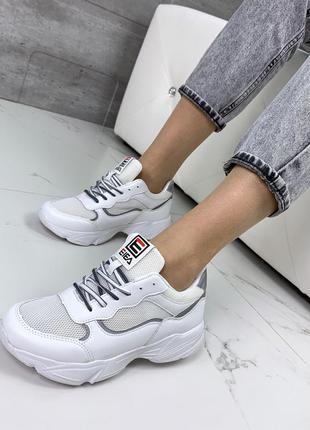 Белые летние кроссовки с сеткой, стильные белые кроссовки