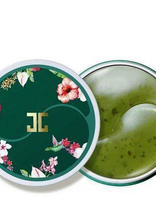 Патчи JAYJUN GREEN TEA EYE GEL PATCH с лепестками зеленого чая