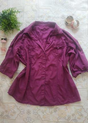 Натуральная летняя женская фиолетовая рубашка батал