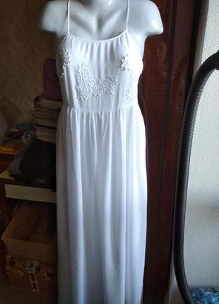 Шикарное белое х/б платье-сарафан в пол , на подкладке, на дев...