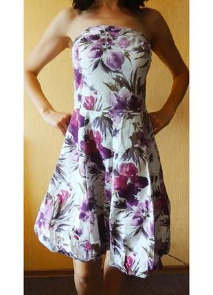 Летнее платье - сарафан в цветочный принт, размер 40