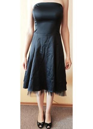 Вечернее черное атласное платье