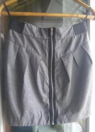 Серая юбка new look на молнии сзади карандаш классика