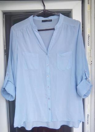 Женская голубая рубашка блузка atmosphere с рукавами