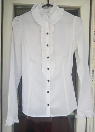 Женская белая рубашка с рукавами полупрозрачная блуза