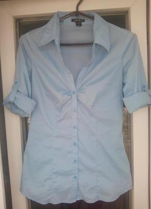Женская голубая рубашка amisu с рукавами  блузка
