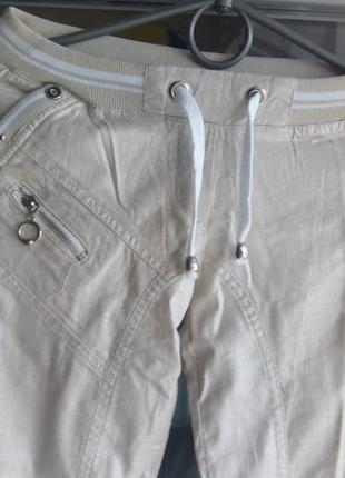 Женские летние бежевые спортивные штаны брюки с поясом прямой ...